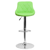 Contemporary Green Vinyl Bucket Seat Adjustable Height Barstool with Chrome Base - OfficeChairCity.com