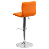 Contemporary Orange Vinyl Adjustable Height Barstool with Chrome Base - OfficeChairCity.com