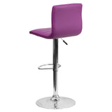 Contemporary Purple Vinyl Adjustable Height Barstool with Chrome Base - OfficeChairCity.com