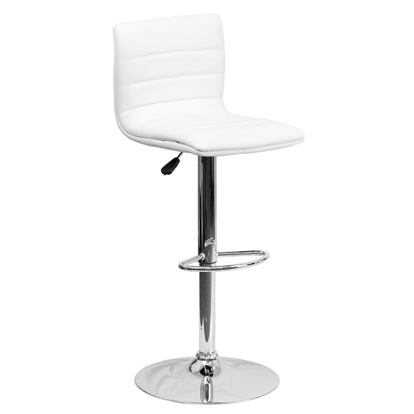 This modern barstool is upholstered in a durable vinyl upholstery and adjusts from counter to bar height. This armless design is gracefully contoured for your comfort. The height adjustable swivel seat adjusts from counter to bar height with the handle located below the seat. The chrome footrest supports your feet while also providing a contemporary chic design. To help protect your floors, the base features an embedded plastic ring.