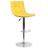 This sleek dual purpose stool easily adjusts from counter to bar height. The elongated, curved back allows you to lean into the curved back. The easy to clean vinyl upholstery is an added bonus when stool is used regularly. The height adjustable swivel seat adjusts from counter to bar height with the handle located below the seat. The chrome footrest supports your feet while also providing a contemporary chic design. To help protect your floors, the base features an embedded plastic ring.