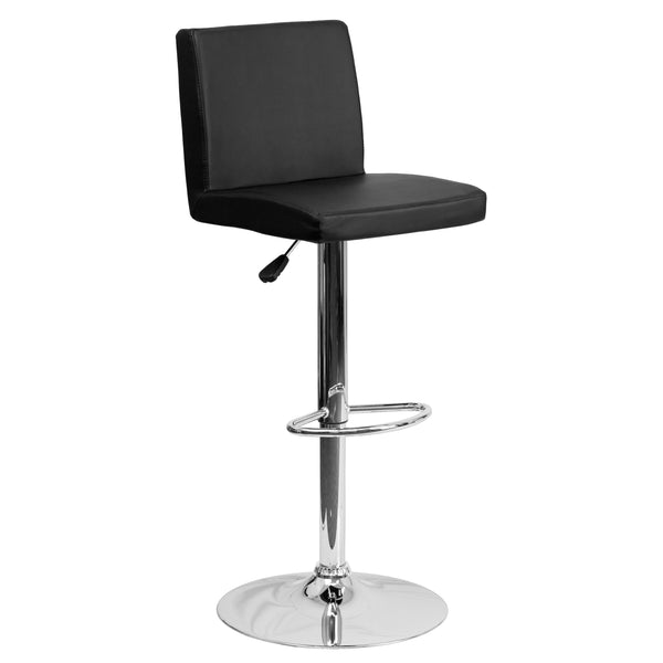 The black vinyl, adjustable height barstool is a great fit for your home bar, game room or kitchen island.The seat and back are padded with 2'' of CA117 fire retardant foam and upholstered in luxurious black vinyl. The swivel seat easily adjusts from counter to bar height using the convenient gas lift-handle, located just below the seat. The chrome base and footrest complement the stool's modern design and this stool will hold up to 330 pounds.Designed for residential use, this black vinyl barstool is an ex