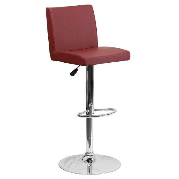 The burgundy vinyl, adjustable height barstool is a great fit for your home bar, game room or kitchen island.The seat and back are padded with 2'' of CA117 fire retardant foam and upholstered in luxurious burgundy vinyl. The swivel seat easily adjusts from counter to bar height using the convenient gas lift-handle, located just below the seat. The chrome base and footrest complement the stool's modern design and this stool will hold up to 330 pounds.Designed for residential use, this burgundy vinyl barstool