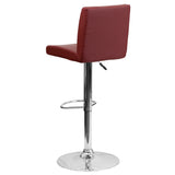 Contemporary Burgundy Vinyl Adjustable Height Barstool with Chrome Base - OfficeChairCity.com