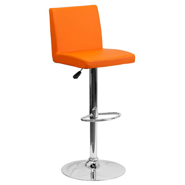 The orange vinyl, adjustable height barstool is a great fit for your home bar, game room or kitchen island.The seat and back are padded with 2'' of CA117 fire retardant foam and upholstered in luxurious orange vinyl. The swivel seat easily adjusts from counter to bar height using the convenient gas lift-handle, located just below the seat. The chrome base and footrest complement the stool's modern design and this stool will hold up to 330 pounds.Designed for residential use, this orange vinyl barstool is an