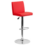 The red vinyl, adjustable height barstool is a great fit for your home bar, game room or kitchen island.The seat and back are padded with 2'' of CA117 fire retardant foam and upholstered in luxurious red vinyl. The swivel seat easily adjusts from counter to bar height using the convenient gas lift-handle, located just below the seat. The chrome base and footrest complement the stool's modern design and this stool will hold up to 330 pounds.Designed for residential use, this red vinyl barstool is an excellen
