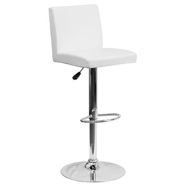 The white vinyl, adjustable height barstool is a great fit for your home bar, game room or kitchen island.The seat and back are padded with 2'' of CA117 fire retardant foam and upholstered in luxurious white vinyl. The swivel seat easily adjusts from counter to bar height using the convenient gas lift-handle, located just below the seat. The chrome base and footrest complement the stool's modern design and this stool will hold up to 330 pounds.Designed for residential use, this white vinyl barstool is an ex