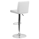 Contemporary White Vinyl Adjustable Height Barstool with Chrome Base - OfficeChairCity.com