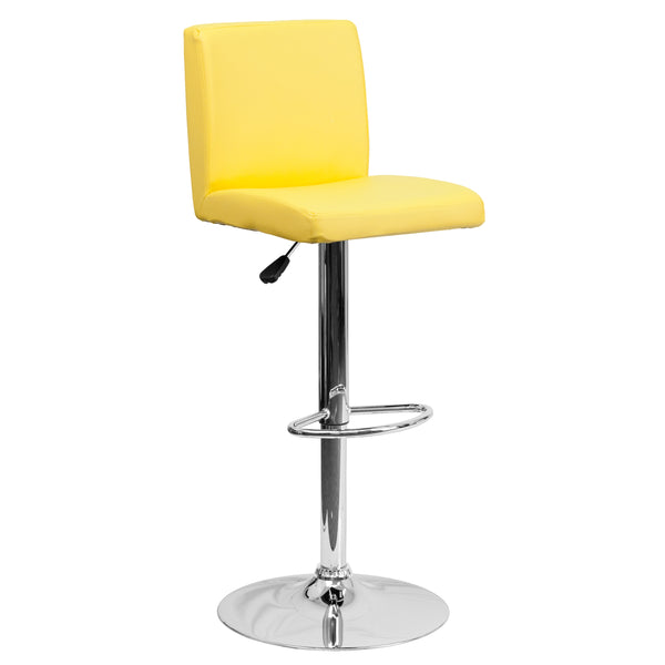 The yellow vinyl, adjustable height barstool is a great fit for your home bar, game room or kitchen island.The seat and back are padded with 2'' of CA117 fire retardant foam and upholstered in luxurious yellow vinyl. The swivel seat easily adjusts from counter to bar height using the convenient gas lift-handle, located just below the seat. The chrome base and footrest complement the stool's modern design and this stool will hold up to 330 pounds.Designed for residential use, this yellow vinyl barstool is an