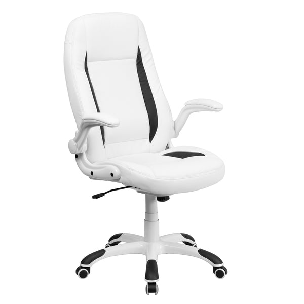 The ultra-contemporary design of this computer chair is sure to set you apart from the crowd.Leather upholstery, contrasting black inserts combine beautifully for a trend-setting style. This ergonomic chair provides built-in lumbar support and an integrated headrest to reinforce healthy posture, reducing back strain and muscle fatigue. Padded flip-up arms take pressure off your shoulders and neck, and flip up and out of the way, as needed. The swivel seat is padded with 3 inches of CA117 fire retardant foam