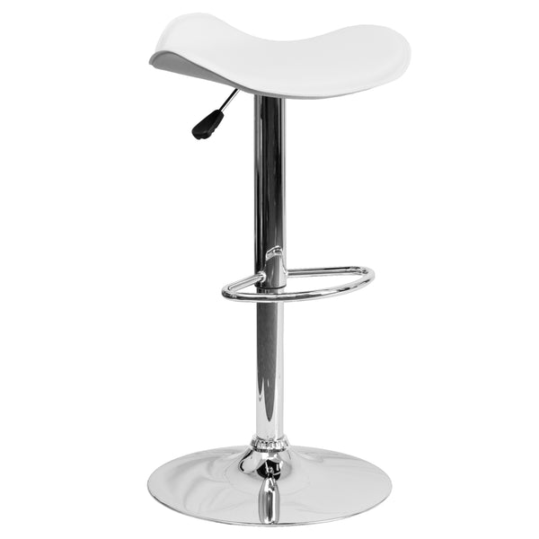 This sleek dual purpose stool easily adjusts from counter to bar height. The backless design is casual and contemporary which allow it to seamlessly accent any area in the home. The easy to clean vinyl upholstery is perfect when being used on a regular basis. The height adjustable swivel seat adjusts from counter to bar height with the handle located below the seat. The chrome footrest supports your feet while also providing a contemporary chic design. To help protect your floors, the base features an embed