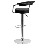 Contemporary Black Vinyl Adjustable Height Barstool with Arms and Chrome Base - OfficeChairCity.com