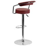 Contemporary Burgundy Vinyl Adjustable Height Barstool with Arms and Chrome Base - OfficeChairCity.com