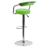 Contemporary Green Vinyl Adjustable Height Barstool with Arms and Chrome Base - OfficeChairCity.com