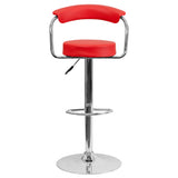 Contemporary Red Vinyl Adjustable Height Barstool with Arms and Chrome Base - OfficeChairCity.com