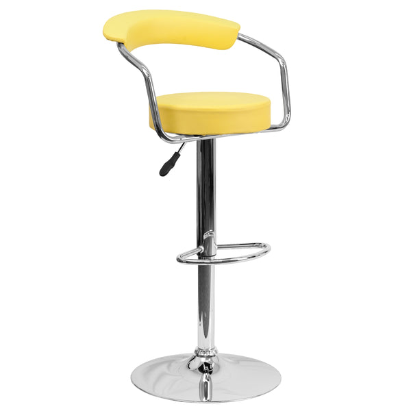 This dual purpose stool easily adjusts from counter to bar height. This open back retro style stool with arms will look great around the bar or kitchen. The easy to clean vinyl upholstery is an added bonus when stool is used regularly. The height adjustable swivel seat adjusts from counter to bar height with the handle located below the seat. The chrome footrest supports your feet while also providing a contemporary chic design. To help protect your floors, the base features an embedded plastic ring.
