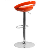 Contemporary Orange Plastic Adjustable Height Barstool with Chrome Base - OfficeChairCity.com