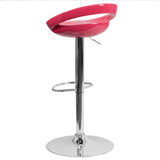 Contemporary Pink Plastic Adjustable Height Barstool with Chrome Base - OfficeChairCity.com