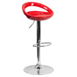 This barstool will add a fun, modern feel to your kitchen bar or counter. A gentle curve in the smooth seat creates sleek comfort. The dual purpose design performs as a counter height stool or a bar height stool. The height adjustable swivel seat adjusts from counter to bar height with the handle located below the seat. To help protect your floors, the base features an embedded plastic ring.