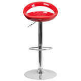 Contemporary Red Plastic Adjustable Height Barstool with Chrome Base - OfficeChairCity.com