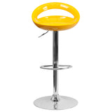 Contemporary Yellow Plastic Adjustable Height Barstool with Chrome Base - OfficeChairCity.com