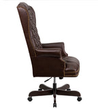 High Back Traditional Tufted Brown Leather Executive Swivel Chair with Arms - OfficeChairCity.com