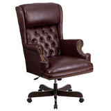 This button tufted executive office chair combines old world craftsmanship with 21st century ergonomic seating principles, giving you a chair that feels as good as it looks. It redefines traditional elegance with its softer edges, subtle styling, and amazing comfort. The generously padded headrest will take the pressure off of your neck while leaning back. High back office chairs have backs extending to the upper back for greater support. The high back design relieves tension in the lower back, preventing l