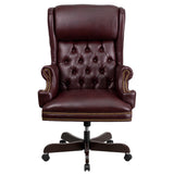 High Back Traditional Tufted Burgundy Leather Executive Swivel Chair with Arms - OfficeChairCity.com