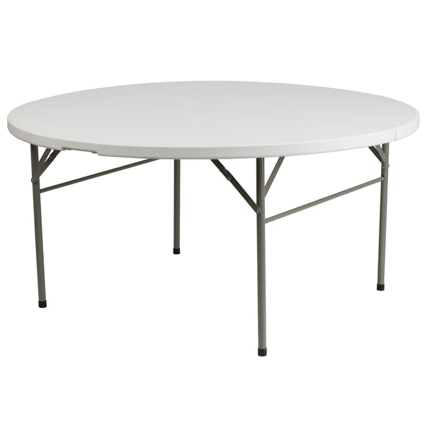 This round folding table is 5 feet long and is beneficial in a multitude of settings that include banquet halls, conference centers, cafeterias, schools and in the home. The table can be used as a temporary seating solution or be setup for everyday use. The bi-fold feature folds the table in half the size and includes a carrying handle for easy transport. The durable blow molded top is low maintenance and cleans easily. The table legs fold under the table to make storage more convenient and for better porta