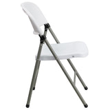 HERCULES Series 330 lb. Capacity White Plastic Folding Chair with Gray Frame - OfficeChairCity.com