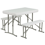 This set includes a table and two benches that will make a great outdoor option. This set can be used for picnic style eating or as a leisure setup for the home or in a school setting. This convenient set stores the benches underneath the table to keep all pieces under one unit. This setup can be used as a permanent arrangement or easily be stored away for occasional usage.
