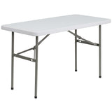 This rectangular folding table is 4 feet long and is beneficial in a multitude of settings that include banquet halls, conference centers, cafeterias, schools and in the home. The table can be used as a temporary seating solution or be setup for everyday use. The durable blow molded top is low maintenance and cleans easily. The table legs fold under the table to make storage more convenient and for better portability. This table is commercial grade to withstand everyday use in the hospitality industry.