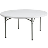 This round folding table is 5 feet long and is beneficial in a multitude of settings that include banquet halls, conference centers, cafeterias, schools and in the home. The table can be used as a temporary seating solution or be setup for everyday use. The durable blow molded top is low maintenance and cleans easily. The table legs fold under the table to make storage more convenient and for better portability. This table is commercial grade to withstand everyday use in the hospitality industry.
