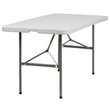 This rectangular folding table is 5 feet long and is beneficial in a multitude of settings that include banquet halls, conference centers, cafeterias, schools and in the home. The table can be used as a temporary seating solution or be setup for everyday use. The bi-fold feature folds the table in half the size and includes a carrying handle for easy transport. The durable blow molded top is low maintenance and cleans easily. The table legs fold under the table to make storage more convenient and for better