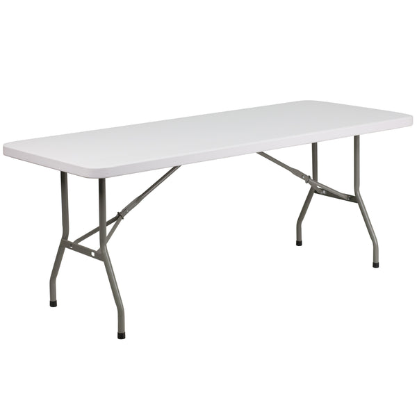 This rectangular folding table is 6 feet long and is beneficial in a multitude of settings that include banquet halls, conference centers, cafeterias, schools and in the home. The table can be used as a temporary seating solution or be setup for everyday use. The durable blow molded top is low maintenance and cleans easily. The table legs fold under the table to make storage more convenient and for better portability. This table is commercial grade to withstand everyday use in the hospitality industry.