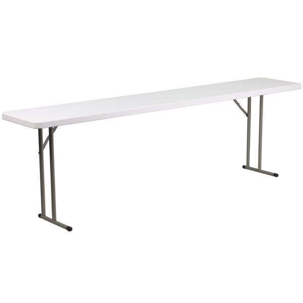 This rectangular folding table is 8 feet long and is beneficial in a multitude of settings that include the classroom, banquet halls and in training rooms. The space saving design can allow multiple tables in a small to large setting making it the perfect training style table for the classroom or any training facility. The durable blow molded top is low maintenance and cleans easily. The table legs fold under the table to make storage more convenient and for better portability.