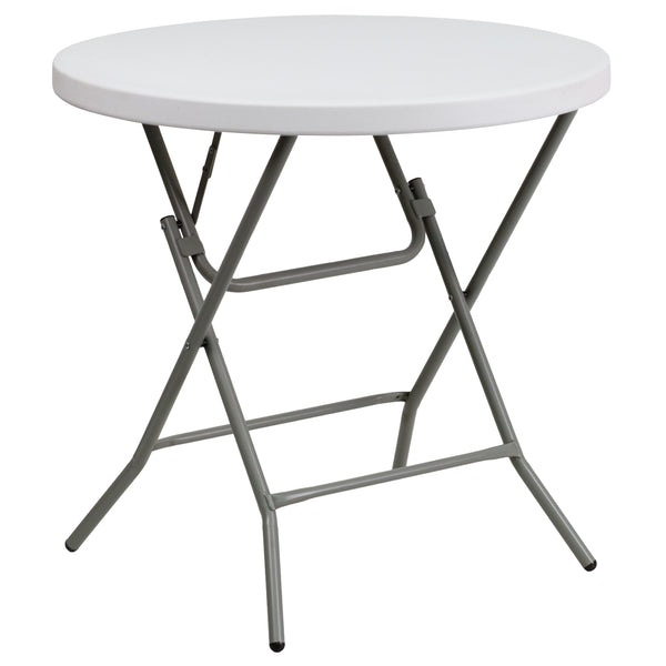This petite sized folding table can be used in banquet halls, cafeterias, or in the home. This table is a great solution for temporary setups for displaying food or other small items. The durable blow molded top is low maintenance and cleans easily. Easy to fold legs fold flat under table top to make storage more convenient and for better portability. This table is commercial grade to withstand everyday use in the hospitality industry.