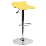 This sleek dual purpose stool easily adjusts from counter to bar height. The overall design is casual and contemporary which allow it to seamlessly accent any area in the home. The easy to clean vinyl upholstery is perfect when being used on a regular basis. The height adjustable swivel seat adjusts from counter to bar height with the handle located below the seat. The chrome footrest supports your feet while also providing a contemporary chic design. To help protect your floors, the base features an embedd