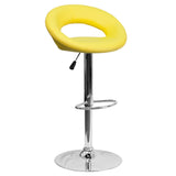 The orbit shaped support and round seat of this adjustable bar or counter stool is upholstered in a durable, easy to clean vinyl upholstery. The height adjustable swivel seat adjusts from counter to bar height with the handle located below the seat. The chrome footrest supports your feet while also providing a contemporary chic design. To help protect your floors, the base features an embedded plastic ring.