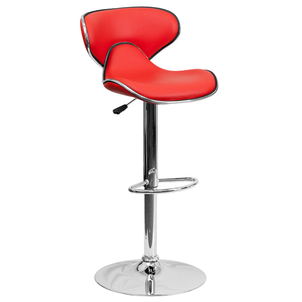 This may be the most comfortable and the most attractive stool with its ergonomically curved seat and back. The mid-back design will allow you to relax your back. You're sure to receive compliments with this stool in your home. The easy to clean vinyl upholstery is perfect when being used on a regular basis. The dual purpose design performs as a counter height stool or a bar height stool. The height adjustable swivel seat adjusts from counter to bar height with the handle located below the seat. The chrome