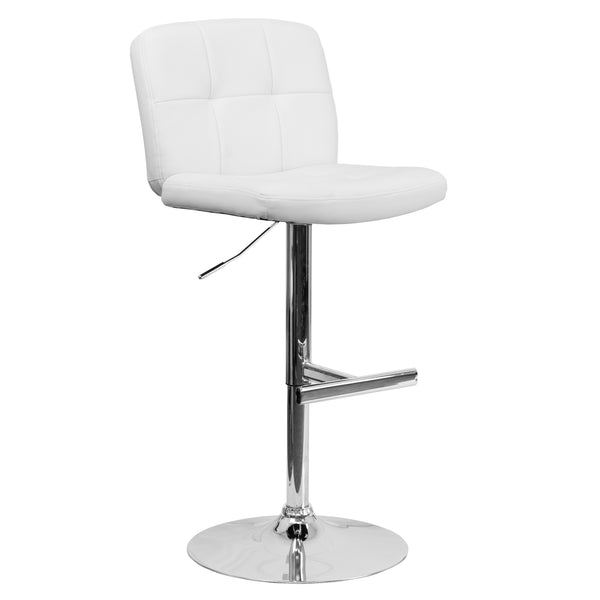 With its tufted detailing, this adjustable height barstool will make a lovely contemporary accent to your kitchen, dining, or bar area. The height adjustable swivel seat adjusts from counter to bar height with the handle located below the seat. The base and footrest have a chrome finish to complement the chair's modern design. To help protect your floors, the base features an embedded plastic ring.