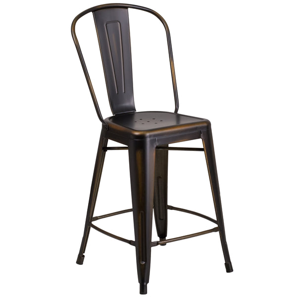 Completely transform your living or restaurant space with this distressed stool. Adding colorful chairs can rev up any setting. The versatility of this chair easily conforms in different environments. The frame is designed for all-weather use making it a great option for indoor and outdoor settings. For longevity, care should be taken to protect from long periods of wet weather. The legs have protective floor glides that prevent damage to flooring. So whether you're using this stool for your kitchen, patio