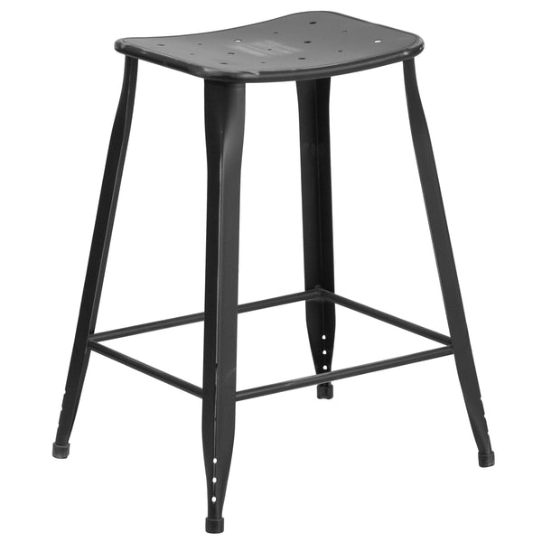This distressed finished stool will add a modern industrial appearance to your home or work space. This stool has a slim frame that is great in small spaces. Drain holes in the seat provide a unique appearance and aid in faster drying times. This all-weather use stool is great for indoor and outdoor settings. For longevity, care should be taken to protect from long periods of wet weather.
