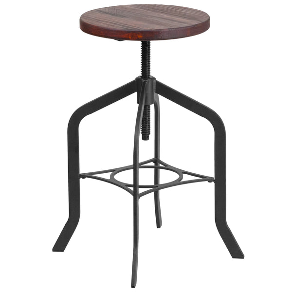 This rustic style stool will add a modern industrial appearance to your home or work space. This stool boosts a wood seat and a stylish, heavy duty metal frame. The swivel seat adjusts in height to accommodate different users. Protective floor glides prevent damage to flooring. The unique design of this backless stool will completely transform the area.