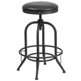 This rustic style stool will add a modern industrial appearance to your home or work space. This stool boosts an upholstered seat and a stylish, heavy duty metal frame. The swivel seat adjusts in height to accommodate different users. Protective adjustable floor glides prevent damage to flooring. The unique design of this backless stool will completely transform the area.