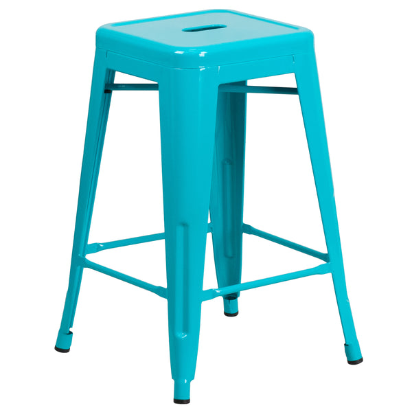 This stool will add a modern industrial appearance to your home or work space. This space-saving stool is stackable making it great for storing. A cross brace underneath the seat adds extra stability and features protective caps that prevent the finish from scratching when stacked. The legs have protective rubber feet that prevent damage to flooring. This all-weather use stool is great for indoor and outdoor settings. For longevity, care should be taken to protect from long periods of wet weather. The uniqu
