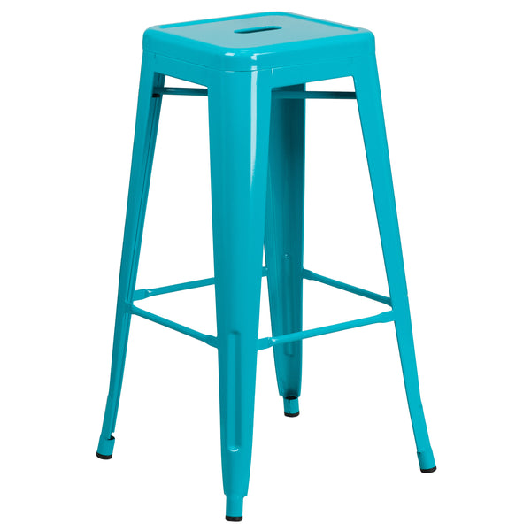 This stool will add a modern industrial appearance to your home or work space. This space-saving stool is stackable making it great for storing. A cross brace underneath the seat adds extra stability and features protective caps that prevent the finish from scratching when stacked. The frame is designed for all-weather use making it a great option for indoor and outdoor settings. For longevity, care should be taken to protect from long periods of wet weather. The legs have protective plastic feet that preve