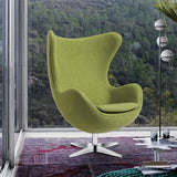 OfficeChairCity.com - Wool Fabric Green Egg Chair Swivel With Tilt-Lock, Modern Lounge Chairs