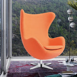 OfficeChairCity.com - Wool Fabric Orange Egg Chair Swivel With Tilt-Lock, Modern Lounge Chairs