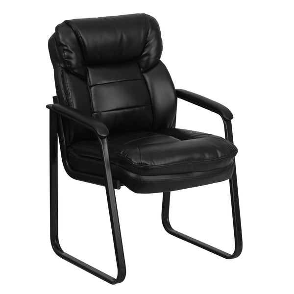 Create a comfortable setting for your guests that will make waiting more pleasant. This leather reception chair is the perfect way to greet your patients or clients in your waiting room or reception area. This chair also makes a great side office chair that will provide your guests with extra comfort with the double padded back and seat.
